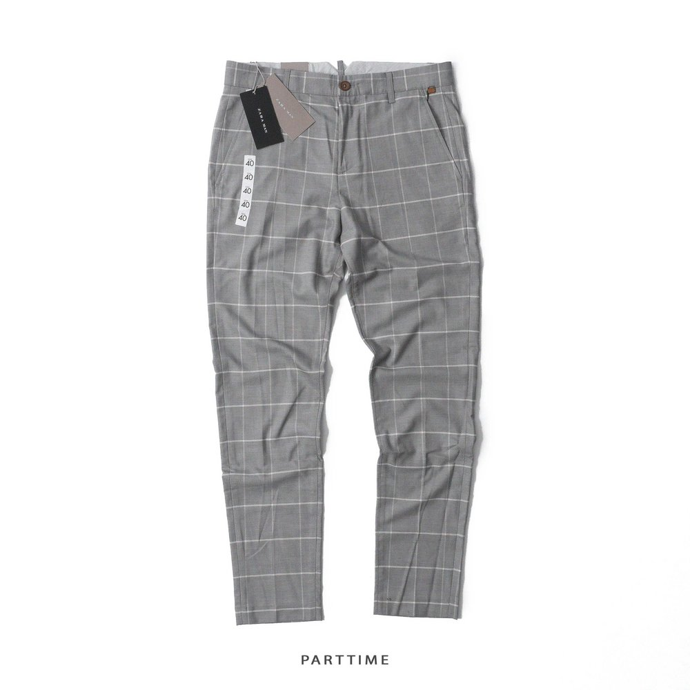 Checked Trousers - Grey
