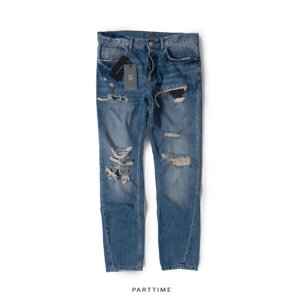 Slim Fit Jeans Ripped - Blue