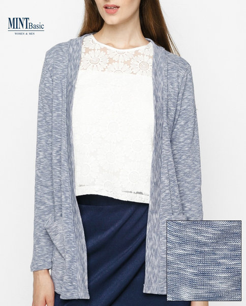 Cotton-blend cardigan ( BLUE )