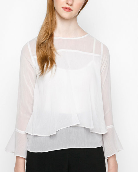 DOUBLE FRILL TOP ( WH )