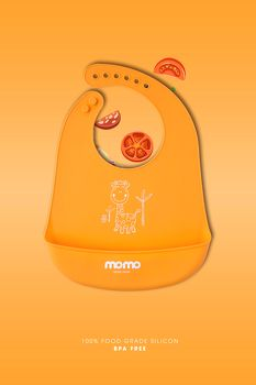 yếm silicon Momo Home Orange