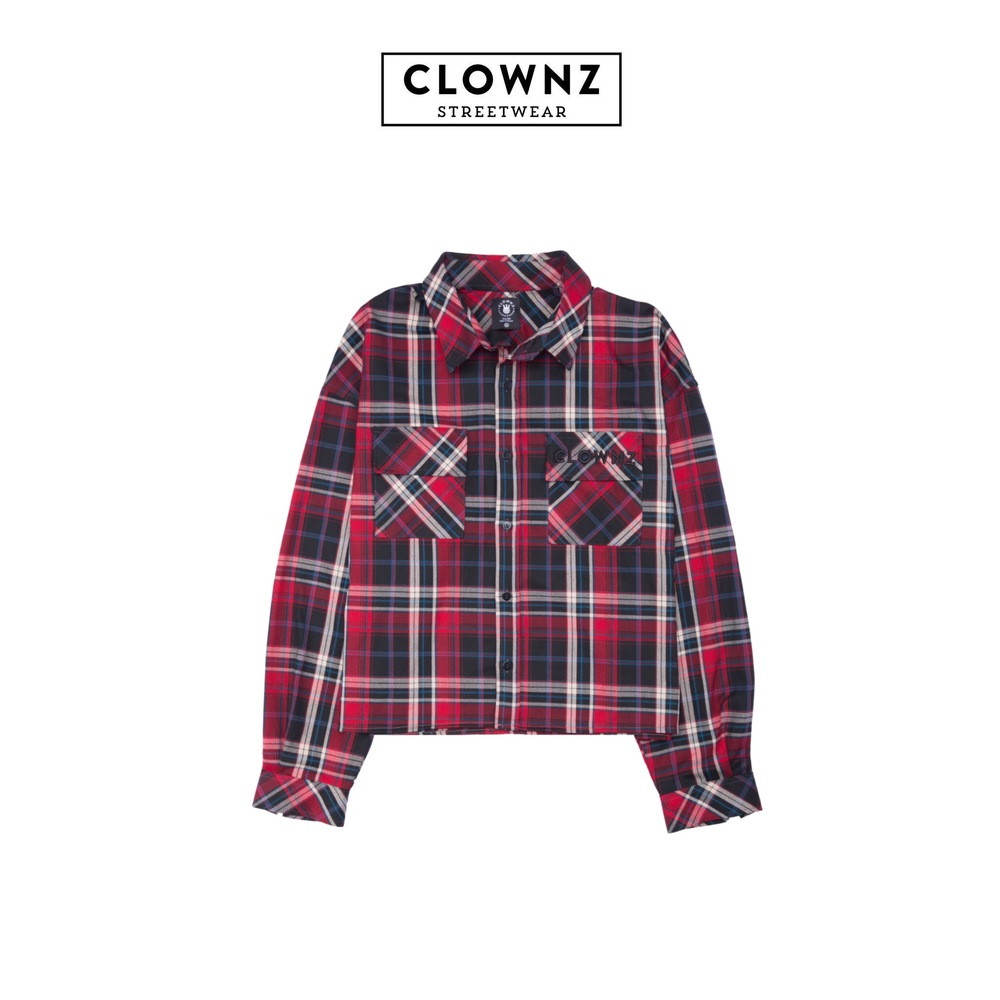 Crop top Flannel Dark Blue Red