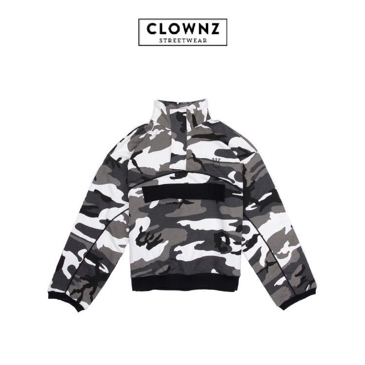 CLOWNZ Half-Zip Sweatshirt - Grey Camouflage