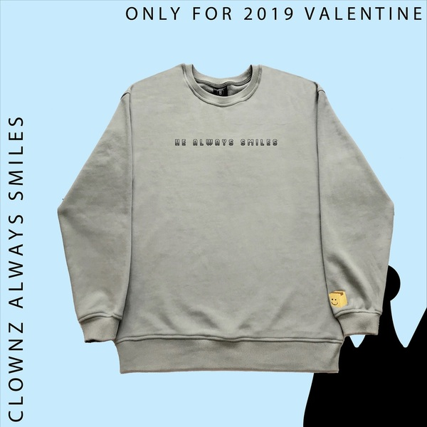 He Always Smile Sweatshirt - Grey