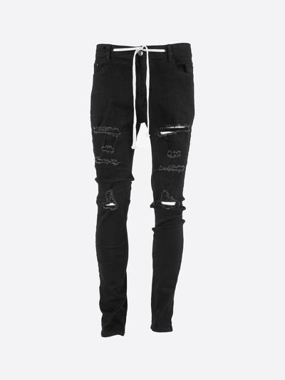 ClownZ Stretch Drawstring Ripped Denim - Black