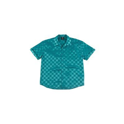 After Party Checkerboard Short Sleeve Shirt - Peacock Blue