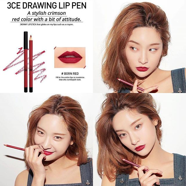 SON CHÌ 3CE - DRAWING LIP PEN (#Born Red) Mua 1 tặng 1
