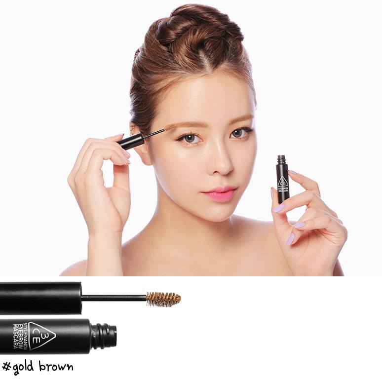 3 CONCEPT EYES EYEBROW MASCARA (mascara chải mày màu #Gold brown)
