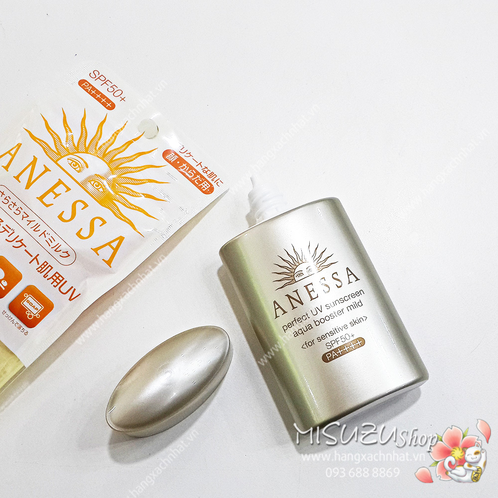 Kem chống nắng ANESSA perfect UV sunscreen aqua booster SPF50+ PA++++ (60ml) - for sensitive skin