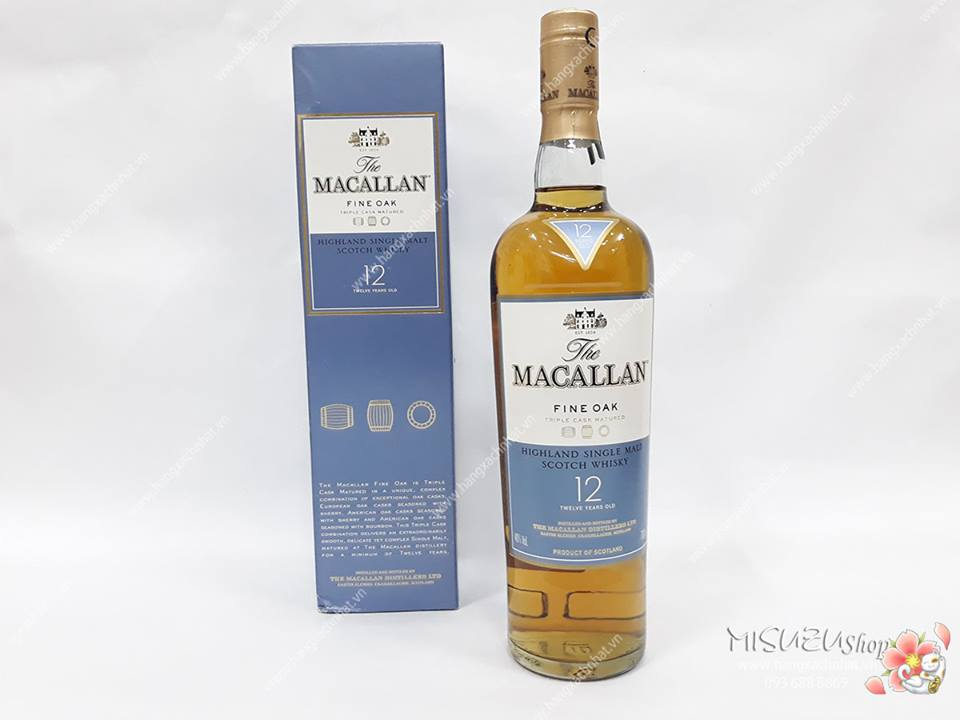 Macallan 12 Fine Oak (xanh) 700ml, 40%