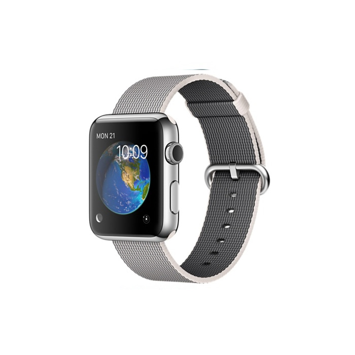 Apple Watch 38mm Stainless Steel Case with Pearl Woven Nylon