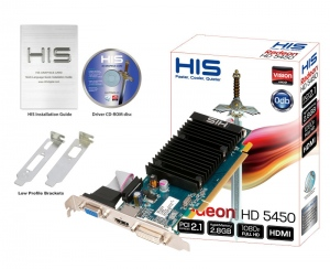 HIS 5450 Silence H545HMHR1G (ATI Radeon HD 5450, DDR3 1GB, 64-bit, PCI-E 2.0)