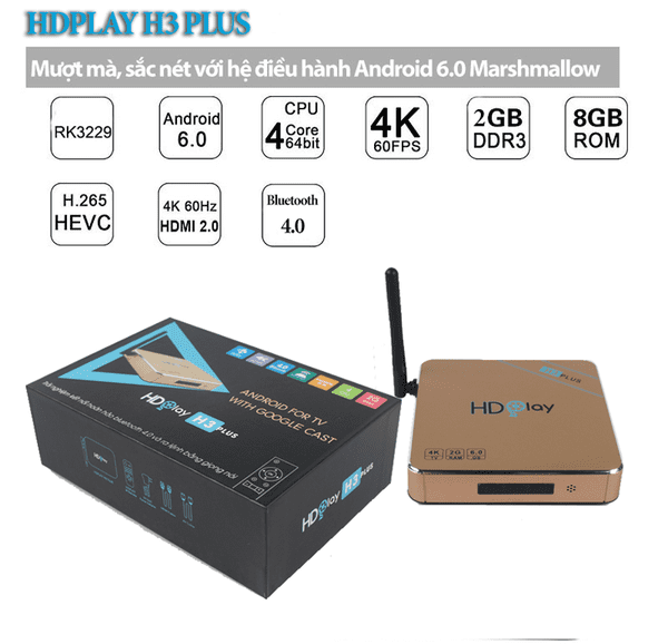 HDPlay H3 Plus - Ram 2G - Rom 8G
