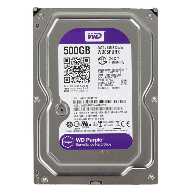 HDD 500Gb Western PURPLE Surveilance