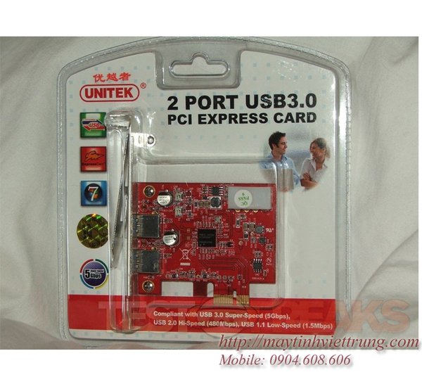 CARD PCI - 2 USB 3.0 EXPRESS UNITEK Y-7301