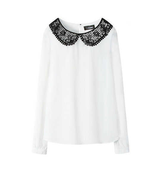 CONTRAST LACE BLOUSE (WHITE)