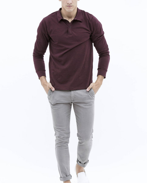 LONG SLEEVE POLO (BURGUNDY)