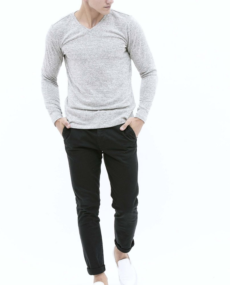 V-NECK KNIT TEE (GREY)