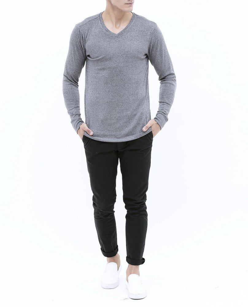V-NECK KNIT TEE (DARK GREY)