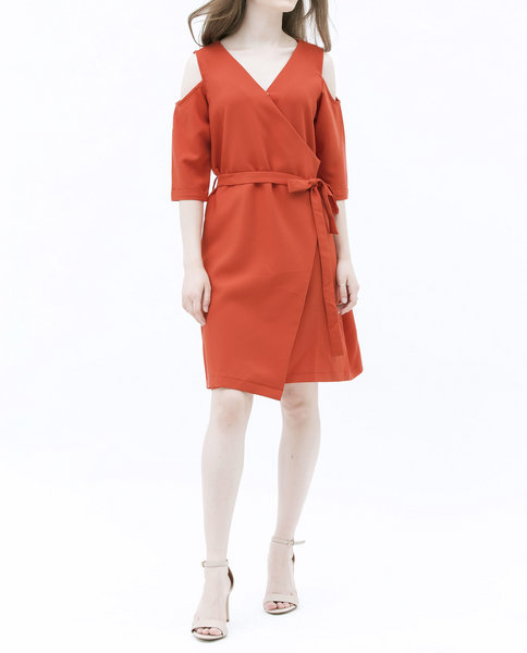 COLD SHOULDER DRESS (ORANGE)