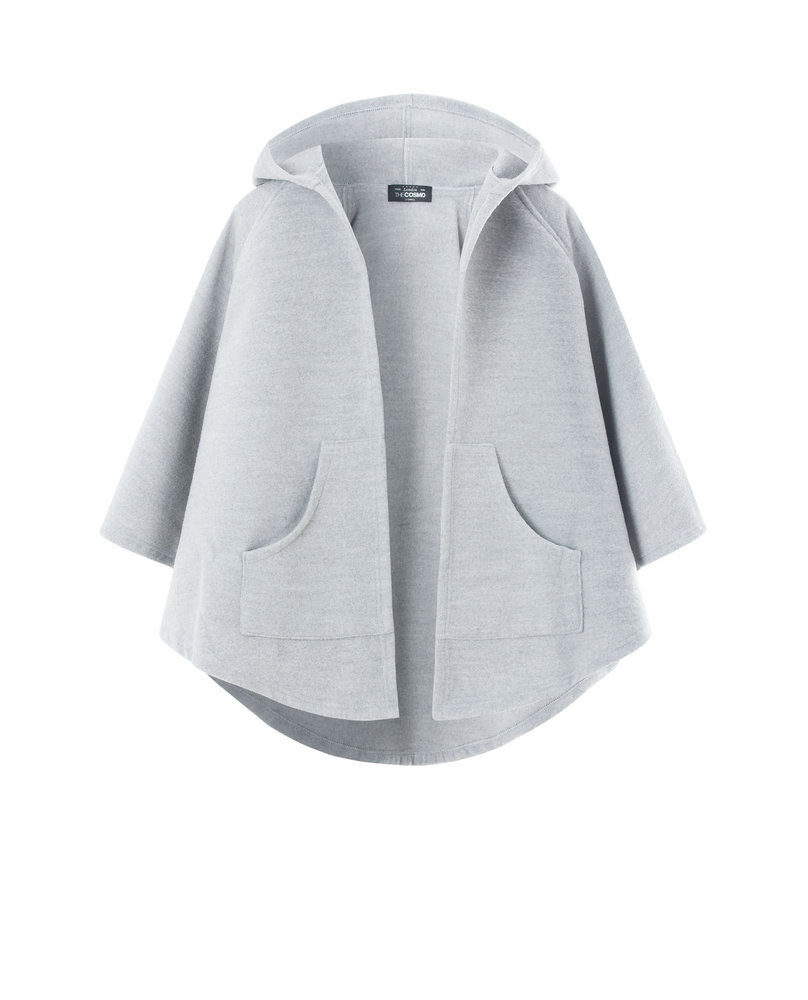 HOODED PONCHO (LIGHT GREY)