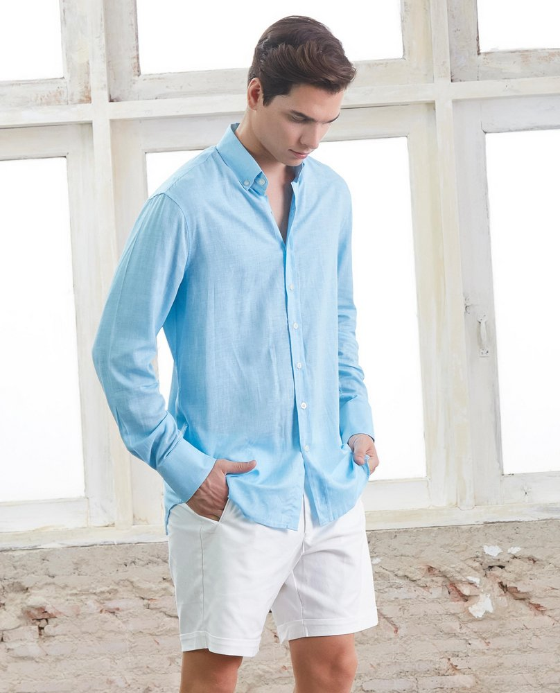 LINEN BLEND SHIRT (LIGHT BLUE)