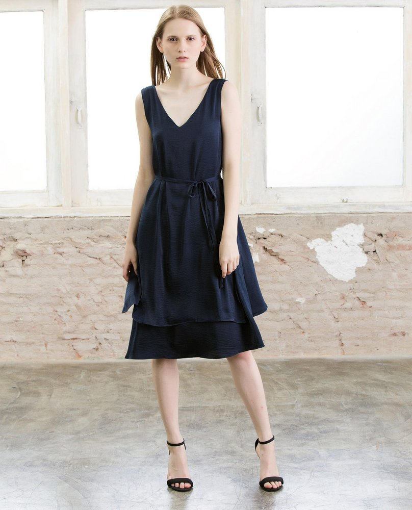 V-NECK DRESS (NAVY)