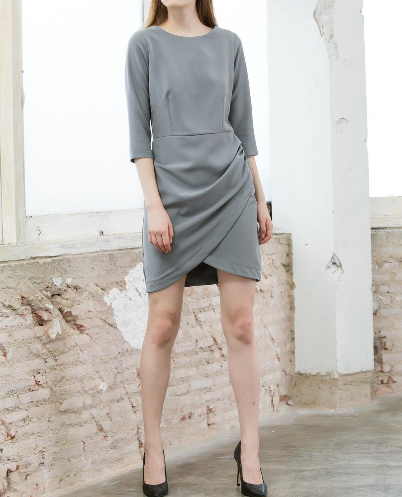 DRAPE DRESS (GREY)