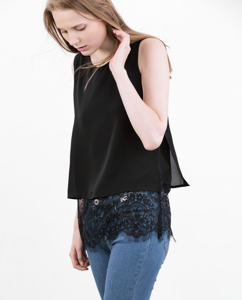 LACE TRIM TOP (BLACK)