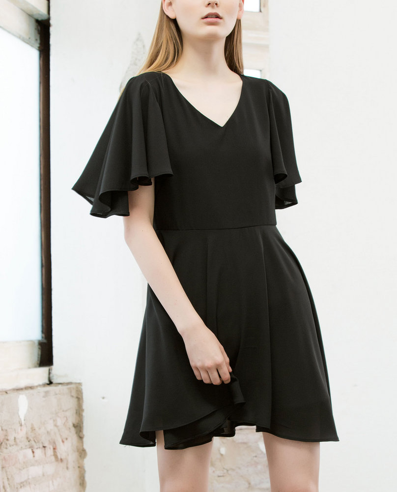 BELL SLEEVE DRESS (BLACK)