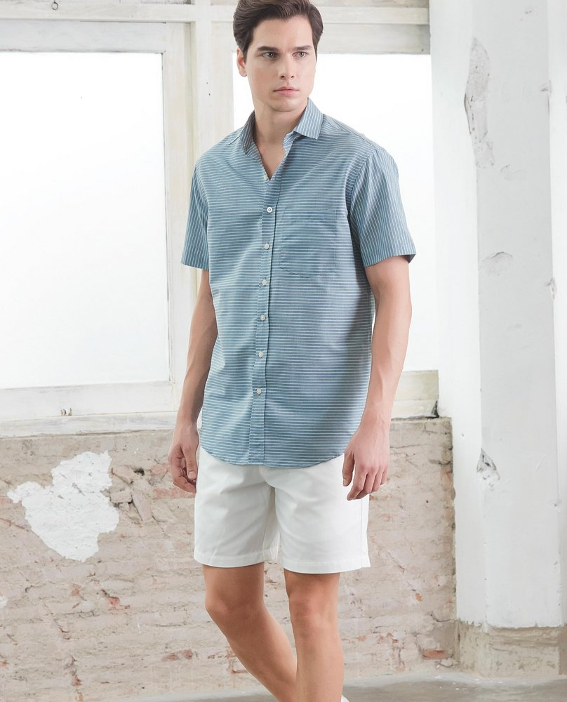 SHORT SLEEVE STRIPE SHIRT (BLUE)