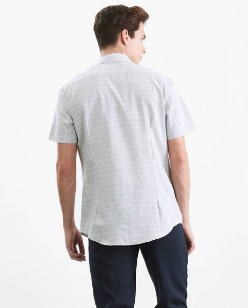 SHORT SLEEVE STRIPE SHIRT (GREY)