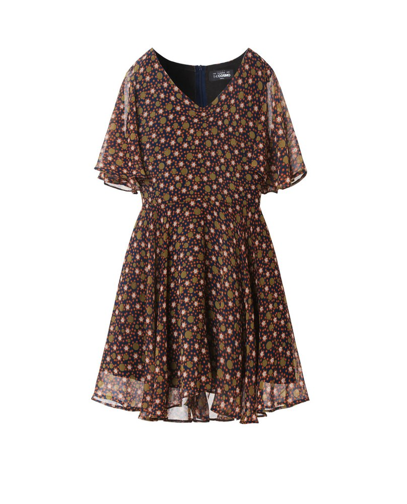 BELL SLEEVE DRESS (BROWN)