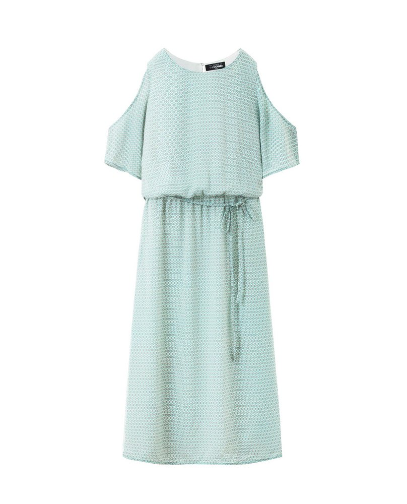 COLD SHOULDER MAXI (AQUA)