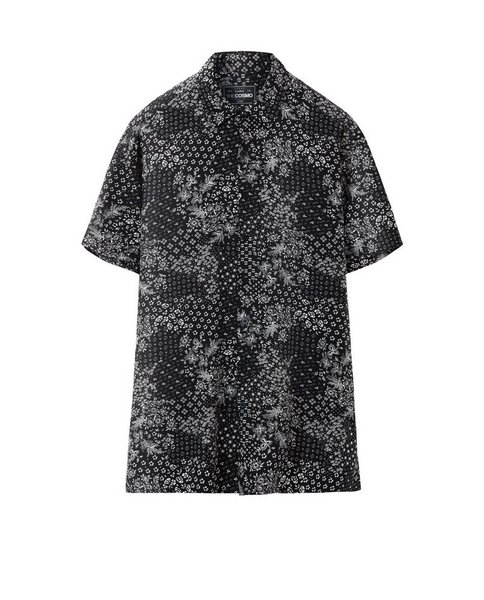 PRINTED VISCOSE SHIRT (BLACK)