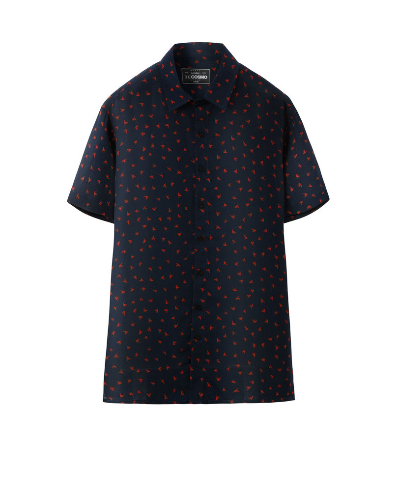 PRINTED VISCOSE SHIRT (NAVY)