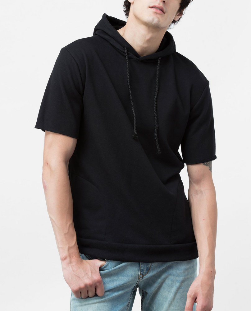 SHORT SLEEVE HOODY ( BLACK)