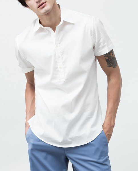 SHIRT WITH SLIT HEM (WHITE)