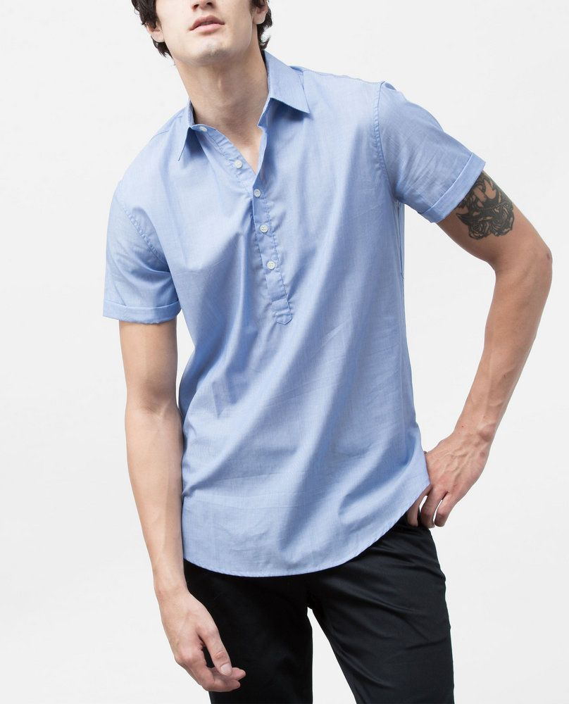 SHIRT WITH SLIT HEM (BLUE)