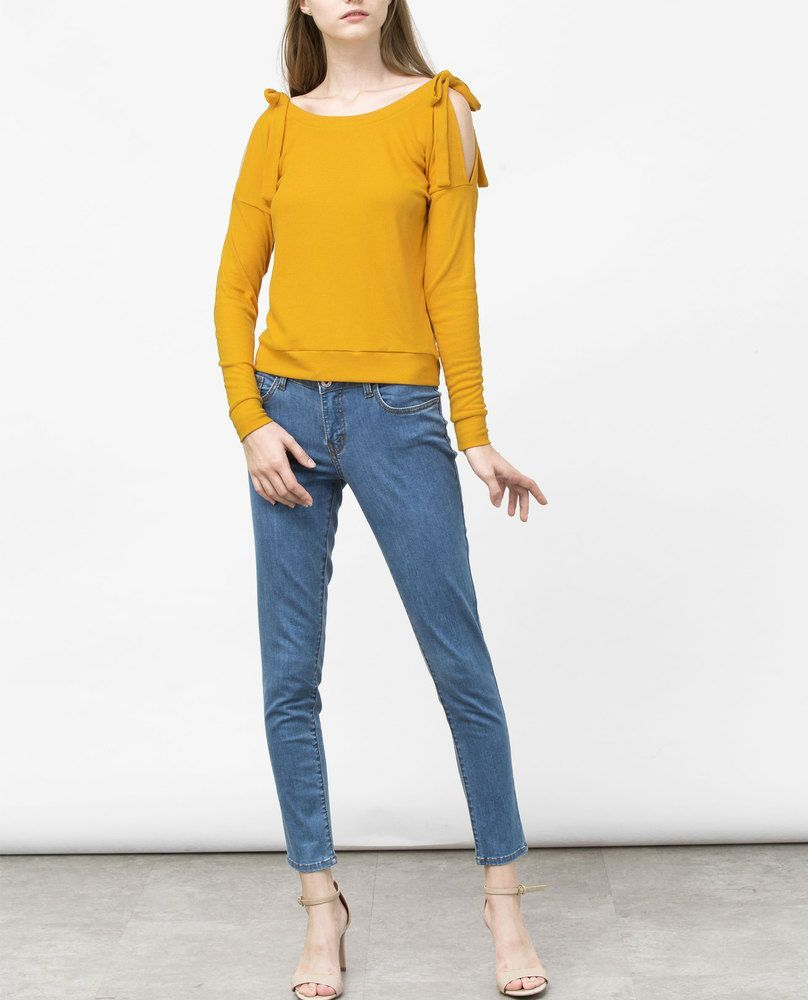 COLD SHOULDER TOP (MUSTARD)