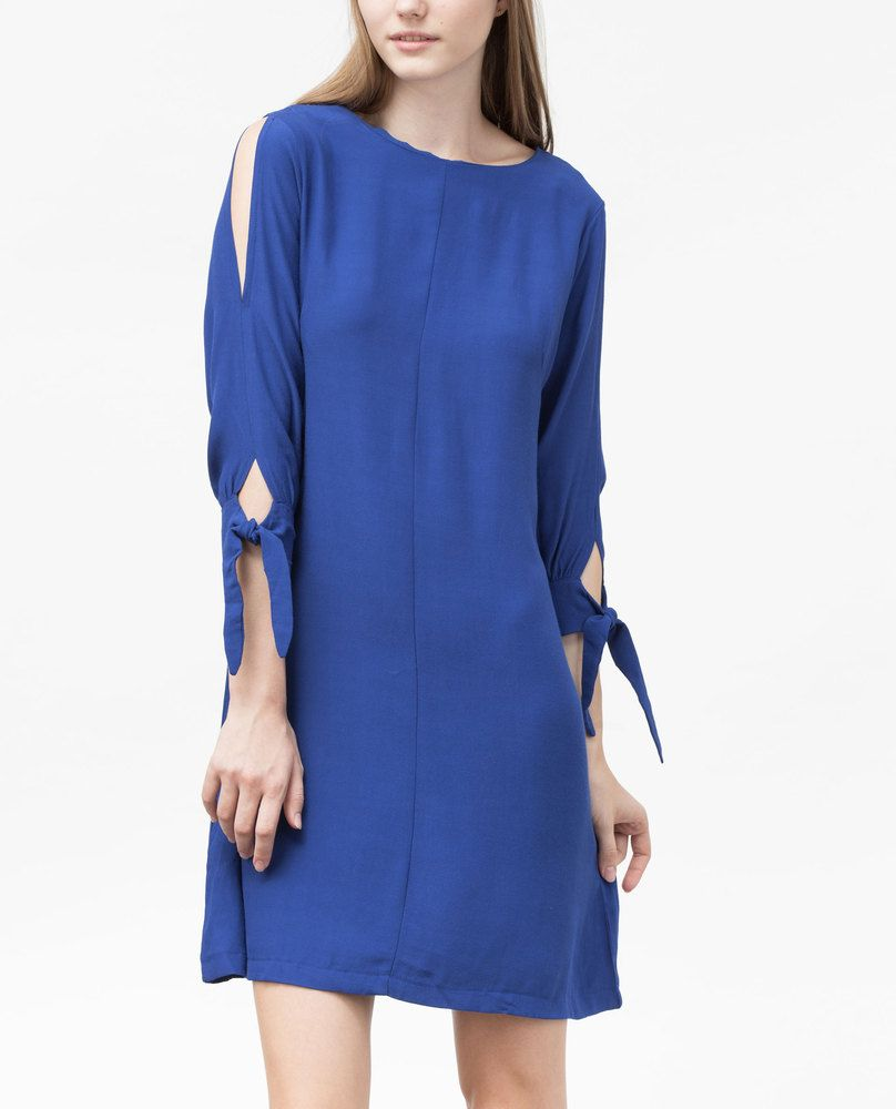 SLIT SHOULDER DRESS (COBALT)