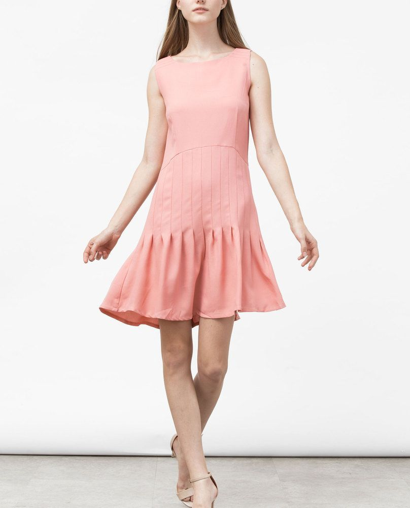 PINTUCK DRESS (PEACH)