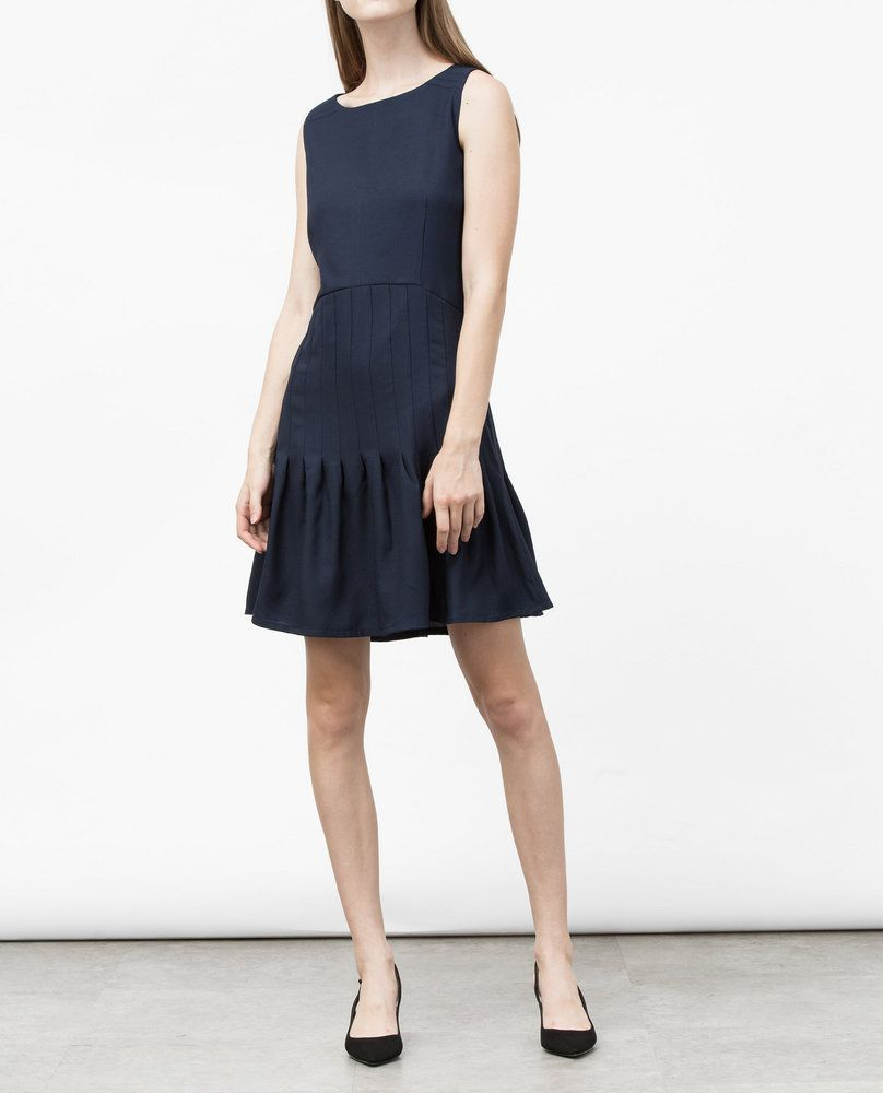 PINTUCK DRESS (NAVY)