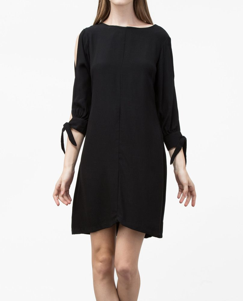 SLIT SHOULDER DRESS (BLACK)