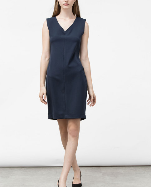 V-NECK BODYCON DRESS (NAVY)