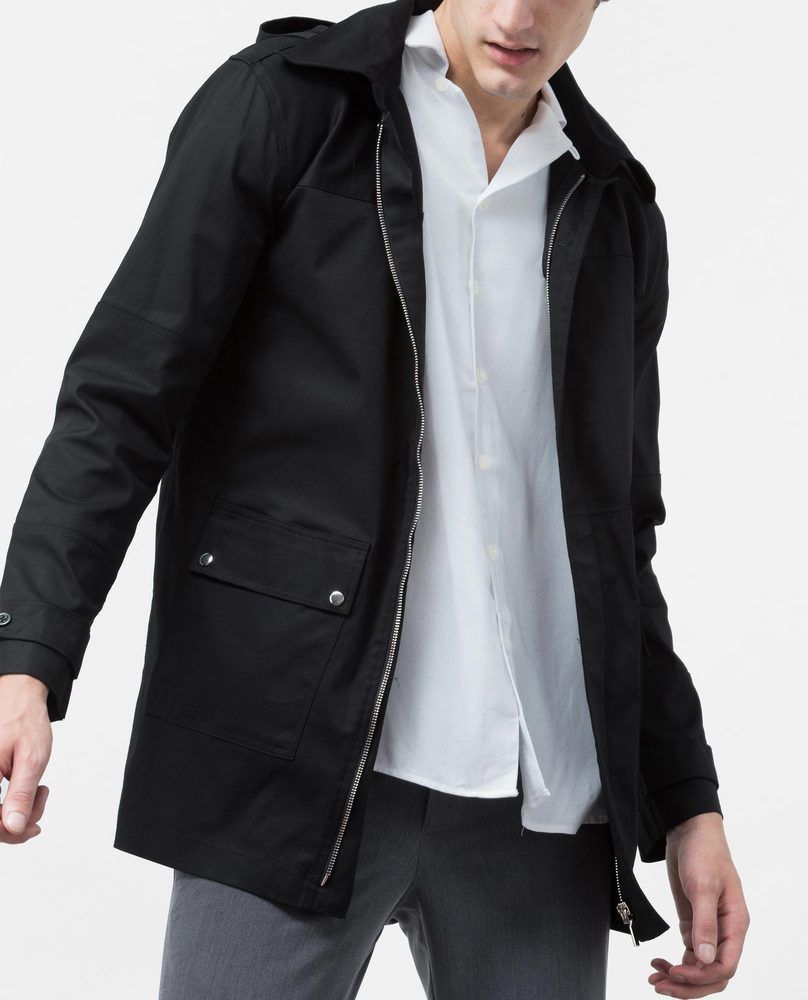 BUTTON PARKA (BLACK)