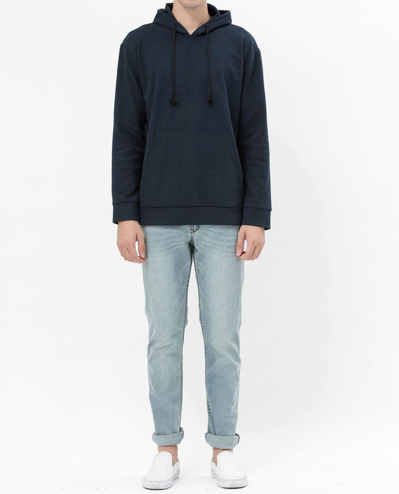 SWEATSHIRT WITH POUCH POCKET (NAVY)