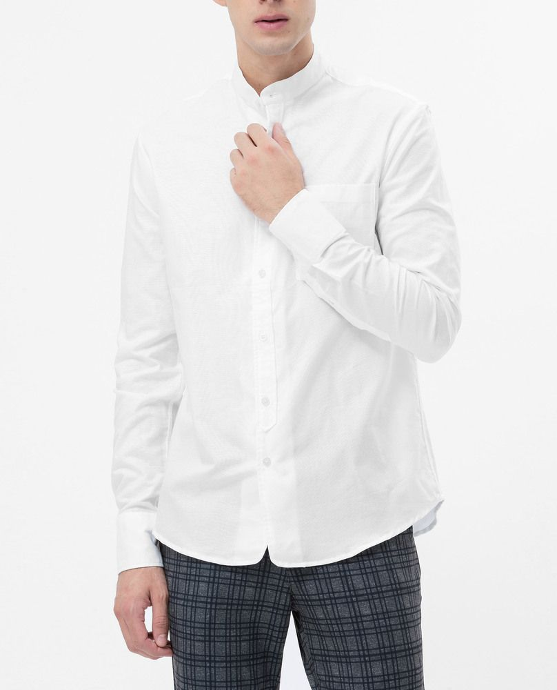 MANDARIN COLLAR SHIRT (WHITE)