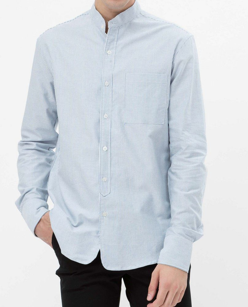 MANDARIN COLLAR SHIRT (STRIPE)