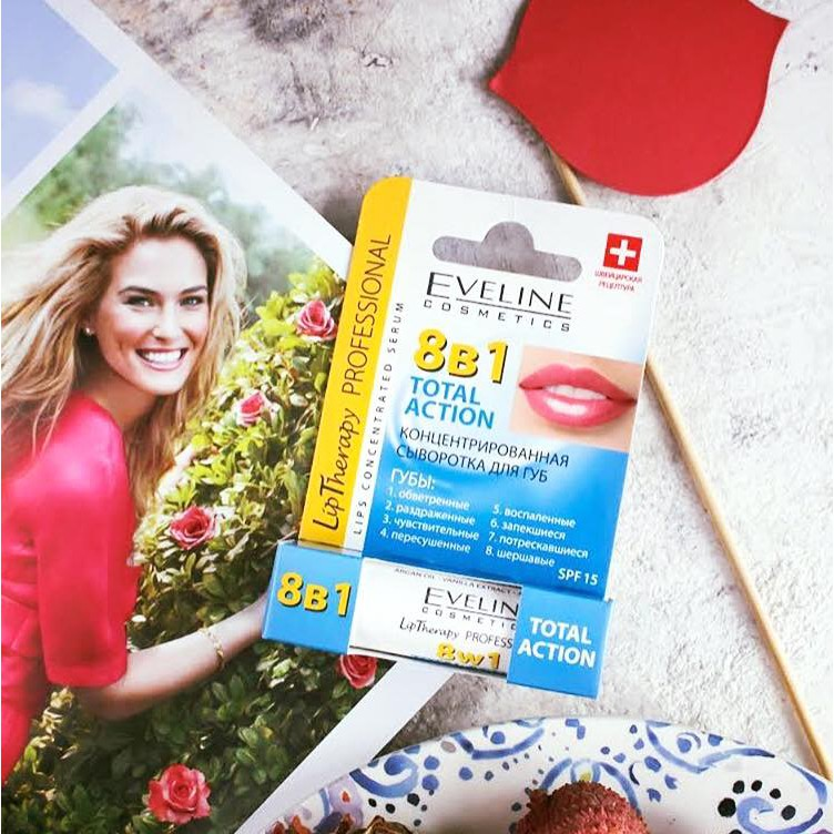 Son dưỡng môi Eveline 8in1 Total Action Lips Concentrated hàng nhập từ Nga